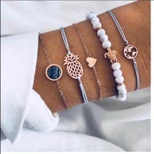 5PC Pineapple World Turtle Bracelet